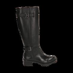 Stivali con fibbie neri in pelle, tacco 4 cm , Scarpe, 146262002PENERO035, 001 preview