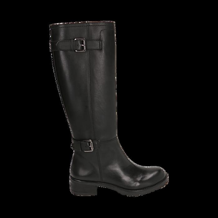 Stivali con fibbie neri in pelle, tacco 4 cm , Scarpe, 146262002PENERO035