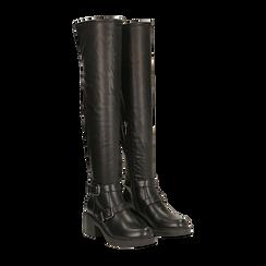 Stivali sopra il ginocchio, tacco 4 cm, Primadonna, 120618172EPNERO036, 002