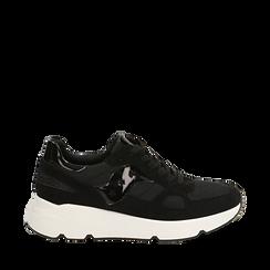 Sneakers noires en tissu technique, compensée 4 cm, Primadonna, 162801993TSNERO035, 001a