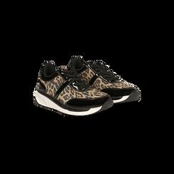 Sneakers leopard dettagli leopard e suola bianca in gomma, 120125906MFLEOP035, 002