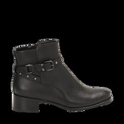 Ankle boots neri in eco-pelle, tacco 4 cm , Scarpe, 143098118EPNERO036, 001a