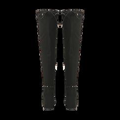 Stivali sopra il ginocchio neri mini-borchie oro, tacco 7,5 cm, Primadonna, 122181620MFNERO, 003 preview