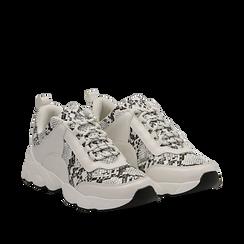 Dad shoes bianche e nere in eco-pelle effetto snake skin, Scarpe, 133010051PTBINE036, 002a