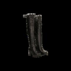 Stivali sopra il ginocchio neri suola in gomma, tacco 4 cm, Primadonna, 122808648EPNERO, 002 preview
