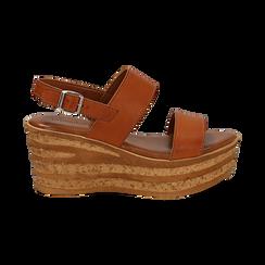 Sandali platform cuoio in eco-pelle, zeppa 8 cm , Saldi, 13A133255EPCUOI036, 001 preview