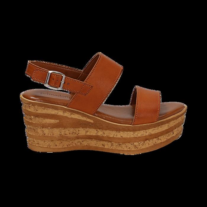 Sandali platform cuoio in eco-pelle, zeppa 8 cm , Saldi, 13A133255EPCUOI036