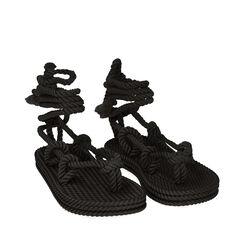 Sandalias de mar negras de tela, Primadonna, 170909004TSNERO035, 002a