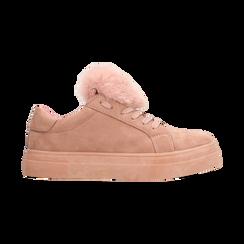 Sneakers nude con pon pon in eco-fur, Scarpe, 121081755MFNUDE, 001 preview