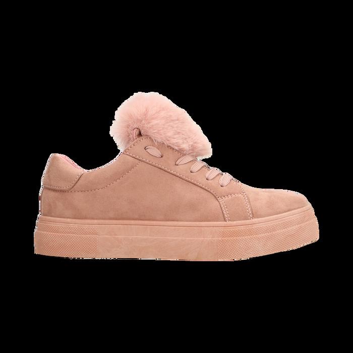 Sneakers nude con pon pon in eco-fur, Scarpe, 121081755MFNUDE