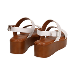 Sandali platform bianchi in eco-pelle, zeppa 5 cm , Saldi, 13A133254EPBIAN036, 004 preview