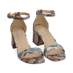 Sandali celesti stampa pitone, tacco 6,50 cm, Primadonna, 152790112PTCELE037, 002a
