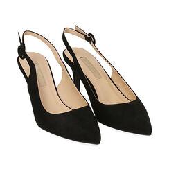 Slingback negro de microfibra, tacón 7 cm, Zapatos, 172133673MFNERO037, 002 preview