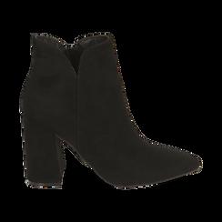 Ankle boots neri in microfibra, tacco 9 cm , Primadonna, 162709165MFNERO037, 001 preview