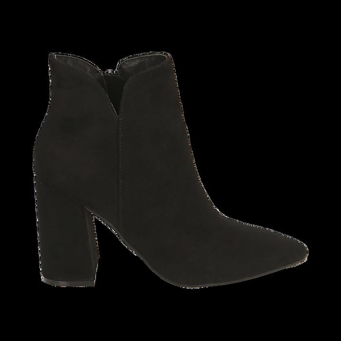 Ankle boots neri in microfibra, tacco 9 cm , Primadonna, 162709165MFNERO037