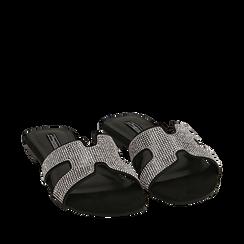CALZATURA FLAT MICROFIBRA PIETRE NERO, Chaussures, 154983281MPNERO036, 002a