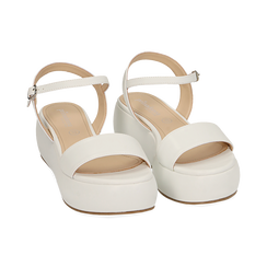 Sandali bianchi in eco-pelle, zeppa 5 cm , Chaussures, 159790131EPBIAN037, 002 preview