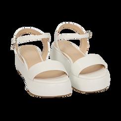 Sandali bianchi in eco-pelle, zeppa 5 cm , Zapatos, 159790131EPBIAN037, 002 preview