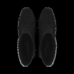 Ankle boots neri in microfibra, tacco 7,5 cm , Stivaletti, 143072170MFNERO035, 004 preview