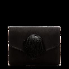 Pochette nera scamosciata con pon-pon, Saldi Borse, 123369415MFNEROUNI, 001a