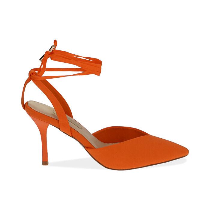 Slingback lace-up arancio in lycra, tacco 9 cm, Primadonna, 172106281LYARAN036