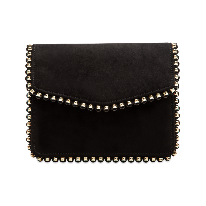 Pochette con tracolla nera in microfibra scamosciata, profili mini-borchie, Primadonna, 123308852MFNEROUNI