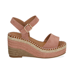 Sandali nude in microfibra, zeppa 9 cm , Chaussures, 154907131MFNUDE035, 001 preview