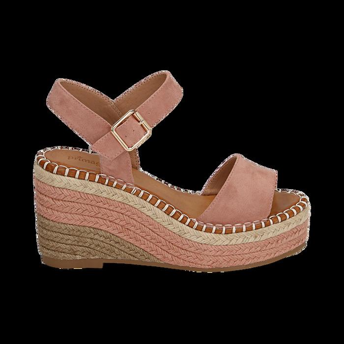 Sandali nude in microfibra, zeppa 9 cm , Chaussures, 154907131MFNUDE035