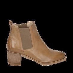 Botines Chelsea de piel en color cuero, tacón 6 cm , Zapatos, 157711439PECUOI036, 001a