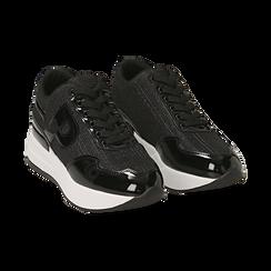 Sneakers nere glitter, suola 5,50 cm ,