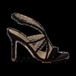 Sandali multilistino neri glitter, tacco 10,50 cm, Sandali con tacco, 132120882GLNERO035, 001 preview
