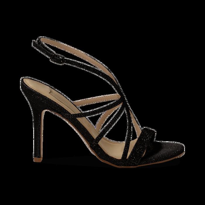 Sandali multilistino neri glitter, tacco 10,50 cm, Sandali con tacco, 132120882GLNERO035