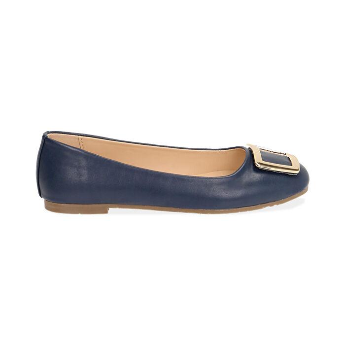 Ballerine blu con fibbia , Scarpe, 174969811EPBLUE035