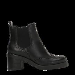 Chelsea Boots neri, tacco 3 cm, 120683012EPNERO035, 001a