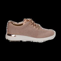 Sneakers rosa in tessuto glitter, Scarpe, 133020229GLROSA036, 001 preview