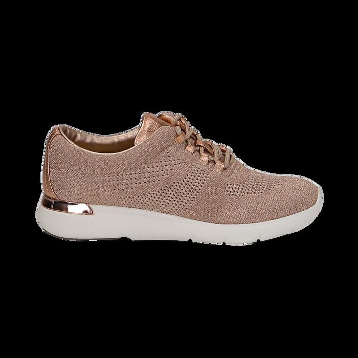 Sneakers rosa in tessuto glitter, Scarpe, 133020229GLROSA036