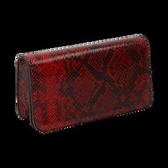 Pochette rossa in eco-pelle snake print, Primadonna, 145122779PTROSSUNI, 002 preview