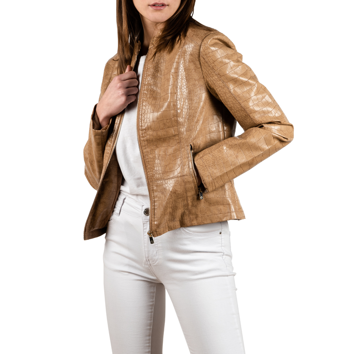 Biker jacket beige in eco-pelle cocco print, NUOVI ARRIVI, 156509104CCBEIGL