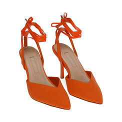 Slingback lace-up arancio in lycra, tacco 9 cm, Primadonna, 172106281LYARAN036, 002 preview