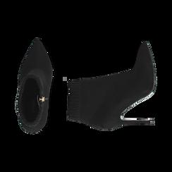 Ankle boots neri in microfibra, tacco 10 cm , Stivaletti, 142146863MFNERO035, 003 preview