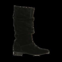 Stivali Neri in vero camoscio con gambale morbido, tacco 2,5 cm, Primadonna, 128900900CMNERO036, 001a
