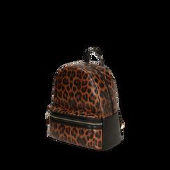 Sac à dos brun imprimé léopard, IDEE REGALO, 165100053EPLEMAUNI, 002a