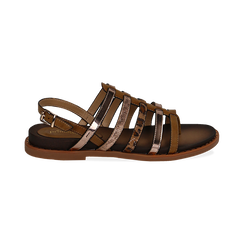 Sandali flat multilistino cuoio in eco-pelle, Primadonna, 134441048EPCUOI036, 001 preview