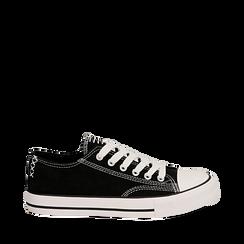 Sneakers nere in canvas, Scarpe, 137300862CANERO035, 001a