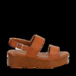 Sandali platform cuoio in eco-pelle, zeppa 5 cm , Primadonna, 13A133254EPCUOI036, 001a