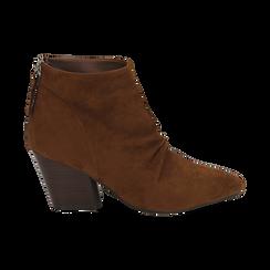 Ankle boots marroni in microfibra, tacco 7,50 cm , Primadonna, 160598311MFMARR035, 001 preview