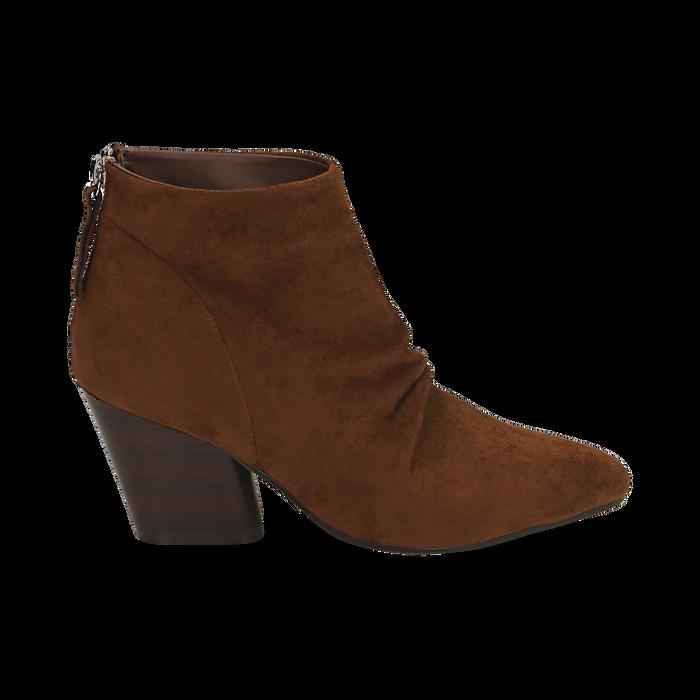 Ankle boots marroni in microfibra, tacco 7,50 cm , Primadonna, 160598311MFMARR035