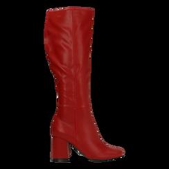 Stivali rossi punta arrotondata, tacco 7,5 cm, Primadonna, 122182011EPROSS035, 001a