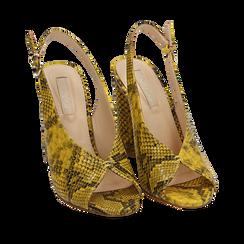 Slingback open-toe giallo/nere stampa pitone, tacco 10 cm, Scarpe, 152708372PTGIAL035, 002a