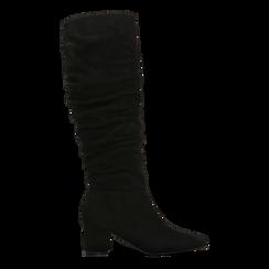 Stivali neri scamosciati con gambale drappeggiato, tacco quadrato medio 5 cm, Primadonna, 122707419MFNERO036, 001a